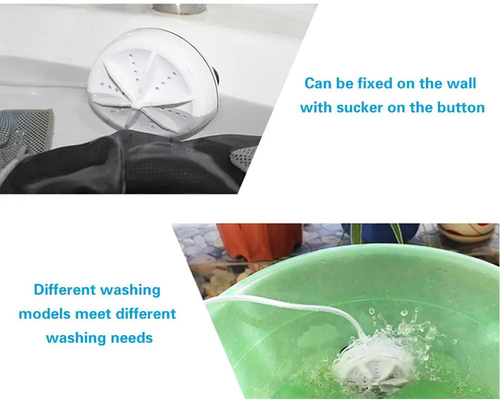 2 in 1 Portable Mini Washing Machine Ultrasonic Washer with USB Cable Convenient for Travel Business Trip